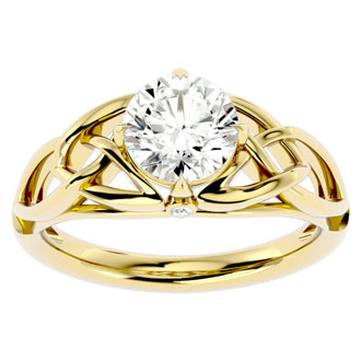 1 1/2 Carat Celtic Love Knot Diamond Engagement Ring In 14 Karat Yellow Gold