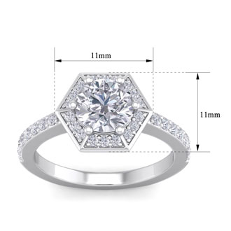 2 1/2 Carat Halo Diamond Engagement Ring In 14 Karat White Gold