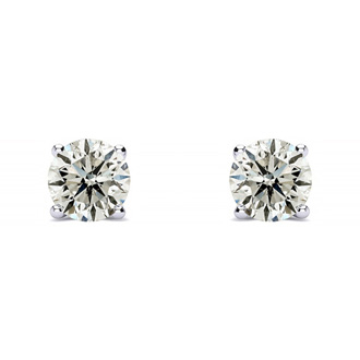 Very Special First Time Offer.  .90 Carat Colorless, Natural Diamond Stud Earrings in 14K White Gold.  Great Deal. Almost 1 Carat At A Much Lower Price!