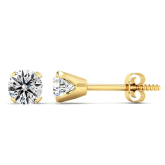 Very Special First Time Offer.  .90 Carat Colorless, Natural Diamond Stud Earrings in 14K Yellow Gold.  Great Deal. Almost 1 Carat At A Much Lower Price!
