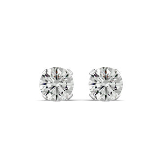 2 Carat Moissanite Stud Earrings Set In 14 Karat White Gold, Screwbacks. Extra White G-H Color. Very Fiery Amazing VS1-VS2 Clarity!