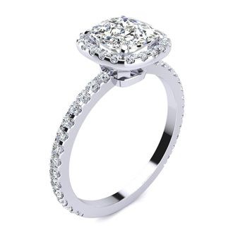 3 Carat Cushion Cut Halo Diamond Engagement Ring In 14 Karat White Gold