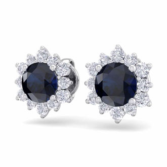 2 Carat Round Shape Flower Sapphire and Diamond Halo Stud Earrings In 14 Karat White Gold