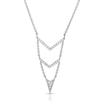 1/4 Carat Diamond Arrow V Necklace In Sterling Silver, 18 Inches
