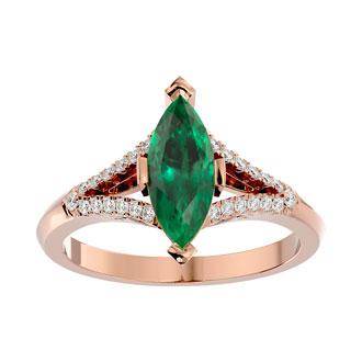 2 Carat Marquise Shape Emerald and Diamond Ring In 14 Karat Rose Gold