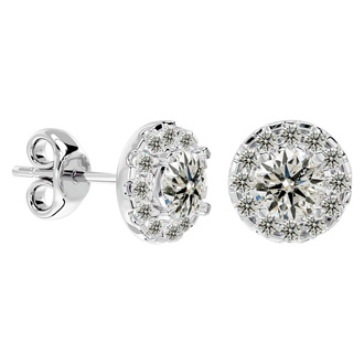 1 Carat Halo Diamond Stud Earrings In 14 Karat White Gold. Amazing New Style At A Fantastic Price!