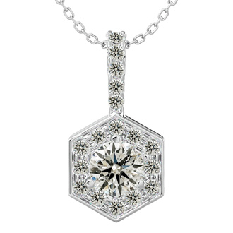 1/2 Carat Halo Diamond Necklace In 14 Karat White Gold, 18 Inches. Gorgeous New Style!