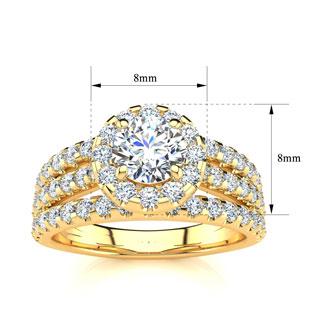 1 1/2 Carat Round Halo Diamond Engagement Ring in 14 Karat Yellow Gold