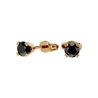1/4ct Black Diamond Stud Earrings, 14k Yellow Gold
