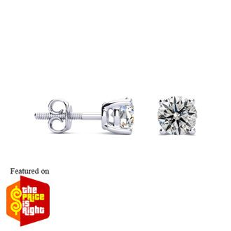 Beautiful High Quality 1ct Diamond Stud Earrings in 14k White Gold