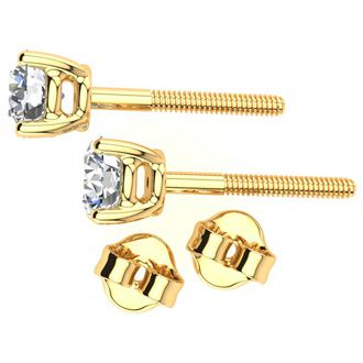 1ct Diamond Stud Earrings, 18k Yellow Gold, H Color, SI3/I1 Clarity