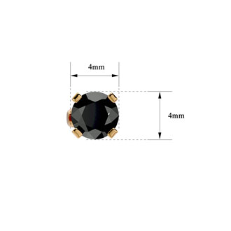 1/2ct Black Diamond Stud Earrings, 14k Yellow Gold