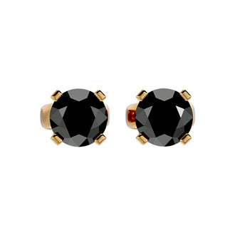 1 1/2ct Black Diamond Stud Earrings, 14k Yellow Gold