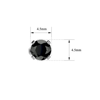 3/4ct Black Diamond Stud Earrings in 14k White Gold
