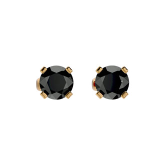 3/4ct Black Diamond Stud Earrings in 14k Yellow Gold