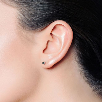 1ct Black Diamond Stud Earrings in White Gold