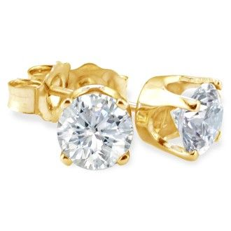 1/5ct Diamond Stud Earrings In 10k Yellow Gold