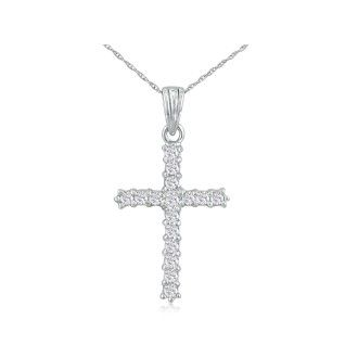 1ct Diamond Cross Pendant in 10k White Gold