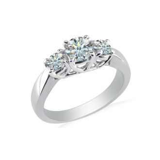 1ct Ideal Cut Three Diamond Ring in White Gold