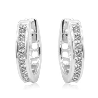 1/4ct Huggy Hoop Diamond Earrings in 10k White Gold