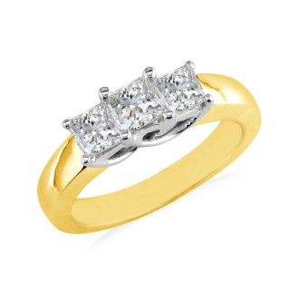 1ct Princess Cut Three Diamond Ring in 14k Yellow Gold