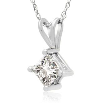 5/8ct Princess Diamond Solitaire Pendant, 14k White Gold