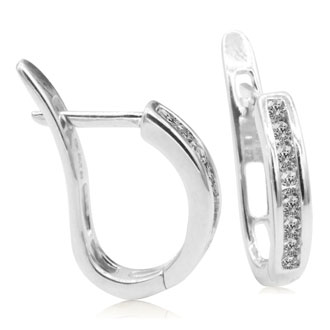1/4ct Flip-Back Huggy Diamond Earrings in 10k White Gold
