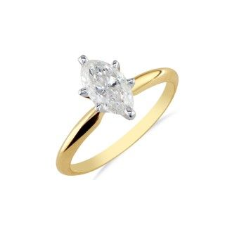 1/3 Carat Marquise Diamond Solitaire Ring In 14K Yellow Gold