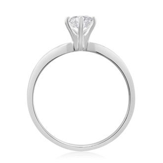 1/2 Carat Marquise Diamond Solitaire Ring in 14K White Gold