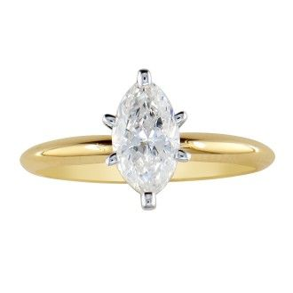 1/2 Carat Marquise Diamond Solitaire Ring In 14K Yellow Gold