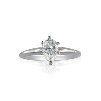 1/2ct Pear Diamond Solitaire Ring in 14k White Gold. Bargain!