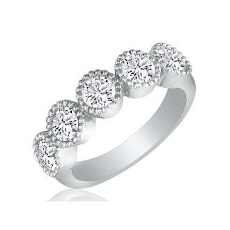 1ct Five Diamond Bezel Set Band in 14k White Gold. Closeout!