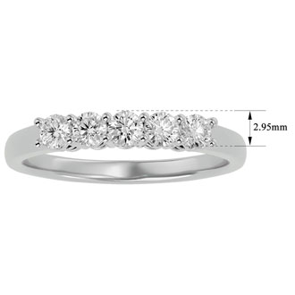 1/2ct Five Natural Diamond Band in White Gold. A Totally Classic Wedding Ring At An Amazing Price!