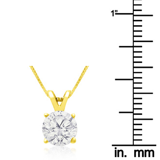1ct Diamond Pendant in 14k Yellow Gold