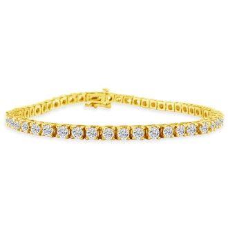 7 Inch 14K Yellow Gold 5 Carat Diamond Tennis Bracelet