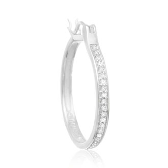 1/4ct Diamond Hoop Earrings in Sterling Silver. Our Most Popular Full Hoop!