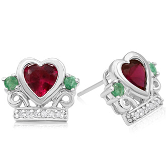Irish Inspired Created Ruby & Emerald Earrings in 10k White Gold