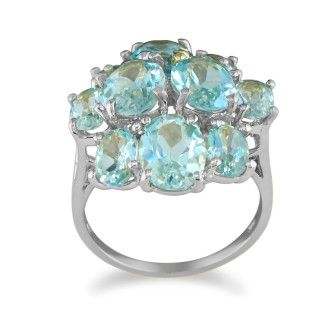 Huge 8ct Blue Topaz Ring in 10k White Gold