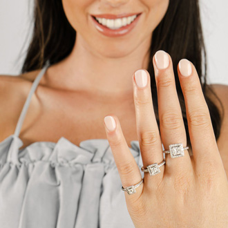 1 Carat Princess Cut Pave Halo Diamond Bridal Set in 14k Yellow Gold