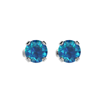1ct Blue Diamond Stud Earrings in 14k White Gold. Fiery And Amazing Dark Sea Blue Colored Diamonds!