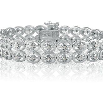 1/2ct Bold 2-Row Diamond Bracelet Crafted in Sterling Silver