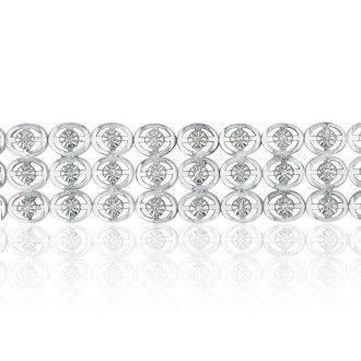 1ct Bold 3-Row Diamond Bracelet Crafted in Sterling Silver