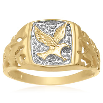 Fly High! American Eagle Nugget Ring, Yellow Gold