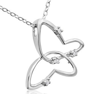 Stylized Butterfly Diamond Pendant in White Gold