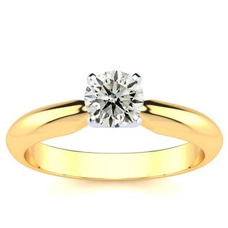 1/2 Carat Round Diamond Engagement Ring in 14K Yellow Gold