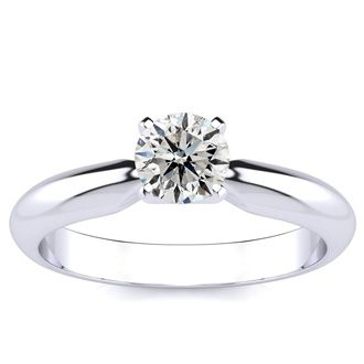1/2ct Diamond Solitaire Engagement Ring in 14k White Gold