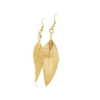 Natural Leaf Earrings, Coated in 24 Karat Yellow Gold Overlay