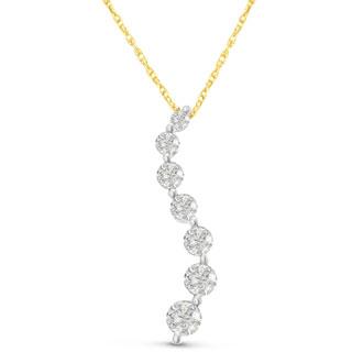 1/2ct Journey Diamond Pendant in 14k Yellow Gold