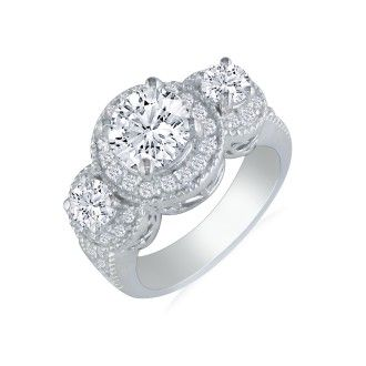 2 3/4 Carat Halo Three Diamond Ring in 14k White Gold