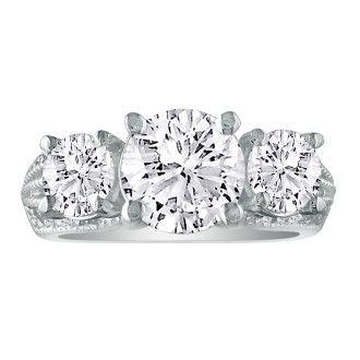 3 3/4 Carat Three Diamond Ring in 14k White Gold